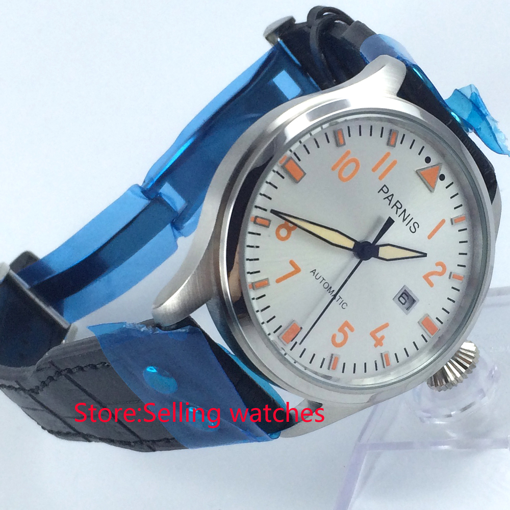 47mm parnis white dial big crown date window  automatic mens wristwatch