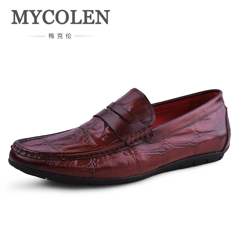 MYCOLEN Men Loafers Brand Designer Luxury Genuine Leather Men Shoes Dress Slip On Crocodile Pattern Casual Flat Shoes mycolen men loafers leather genuine luxury designer slip on mens shoes black italian brand dress loafers moccasins mens