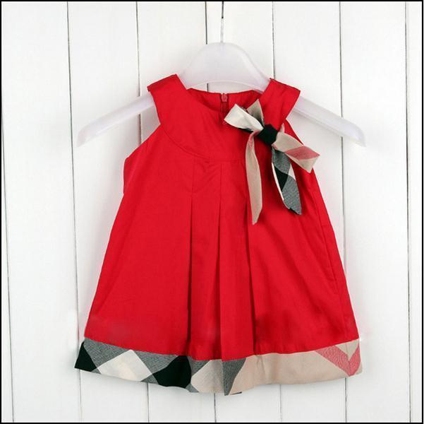 Nuevo 2017 baby dress casual kids clothes moda estilo ropa del bebé del arco del verano vestidos de trajes a cuadros de algodón niño trajes