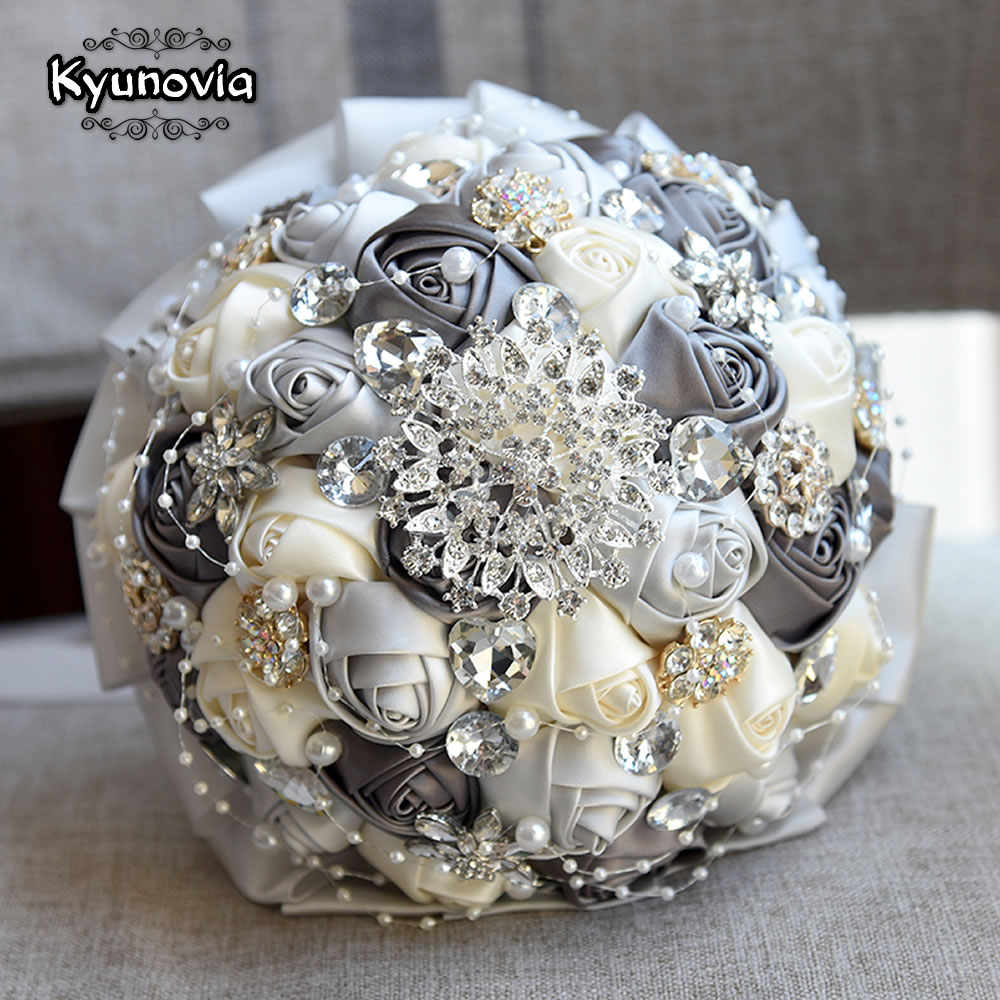 Aliexpress Buy Kyunovia Burgundy Brooch Bouquet Ivory Bride