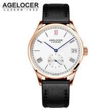AGELOCER Watch Role Watches Men's Watch Luxury Famous Brand Real Genuine Leather Minute Small Dial Male Mechanical Clock