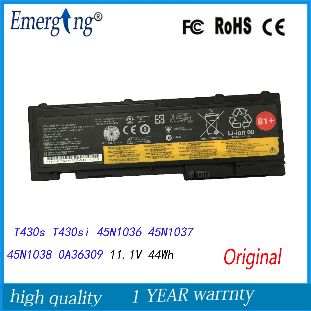 11.1V 44Wh Original  New  Laptop Battery for  Lenovo ThinkPad T430s T430si 45N1036 45N1037 45N1038 0A36309 10 8v 5 2ah genuine new laptop battery for lenovo thinkpad t400 t61 t61p r61 r61i r400 14 42t4677 42t4531 42t4644 42t5263 6cell