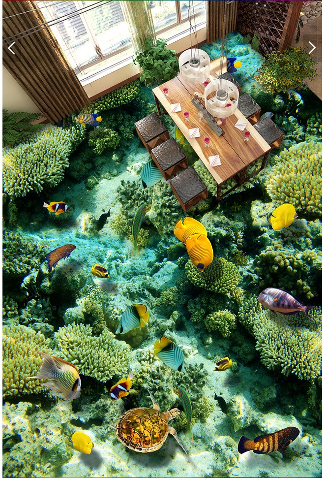 3d pvc flooring custom photo mural picture wall sticker Marine reef fish in the world  painting room wallpaper for walls 3d the woman in the photo