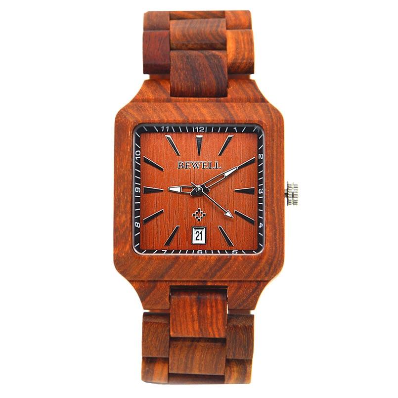 BEWELL luxe houten horloges met kalender mannen mode antieke quartz - Herenhorloges - Foto 6