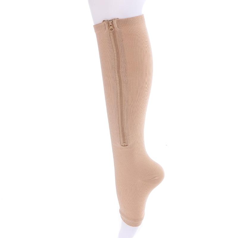 a907b60d3 2019 New Women Zipper Compression Socks Zip Leg Support Knee Socks Open Toe  Sock Fashion and Leak toe black khaki color-in Socks from Underwear    Sleepwears ...