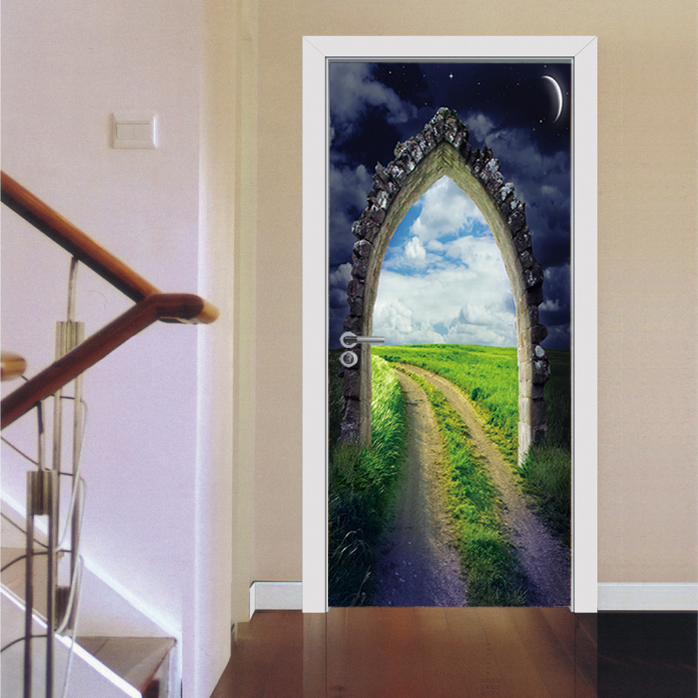 2017 new 3d arched door diy door art mural stickers self for Diy mural painting
