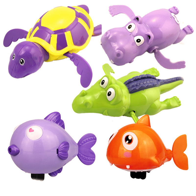 1Pcs Bath Toys Turtle Dolphin Baby Shower Baby Wind Up Swim Play Toy Swimming Pool Accessories Baby Play In Water Random Color