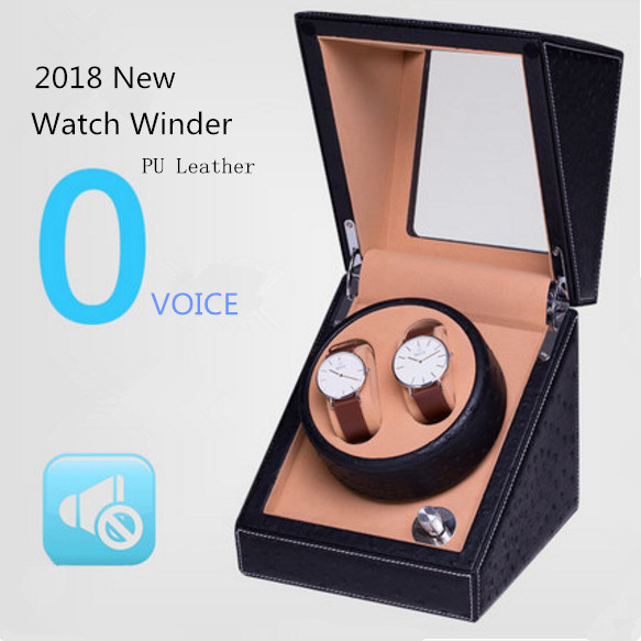 2 Slots Leather Watch Winder New Mechanical Watch Gift Winders Black Mens Watch Boxes High Quanlity Import Watch Storage Box high quanlity wood watch winder black automatic self watch winders fashion watch storage box