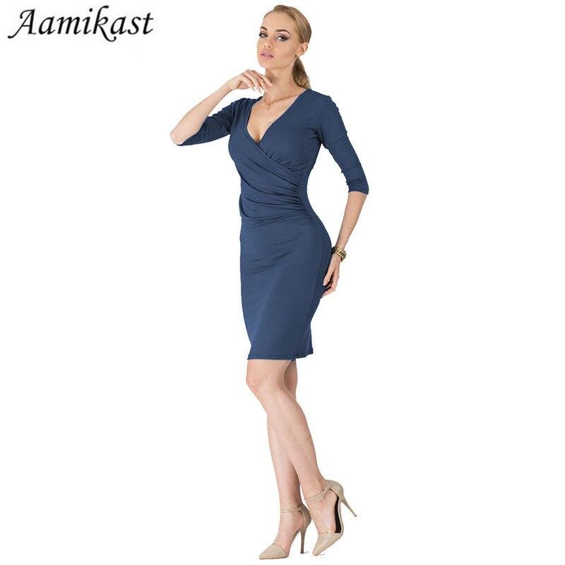 Ženy V-neck Half Sleeve šaty Sheath Shift Pencil Vestdio Ladies Party Ruched Sexy šaty