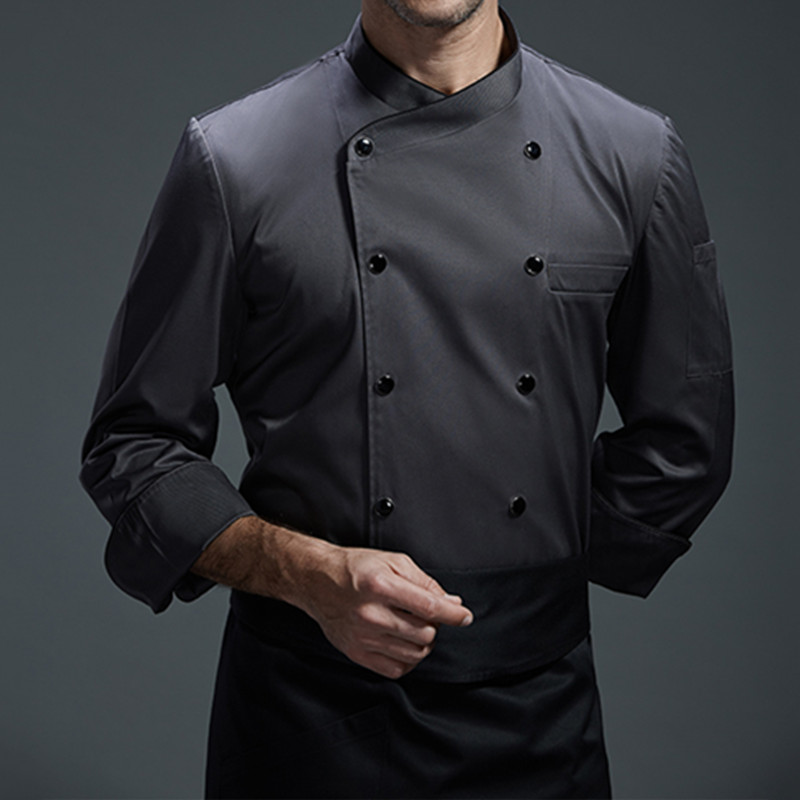 White Gray Black Long Sleeve Shirt Barista Hotel Restaurant Kitchen Chef Uniform Diner Bistro Baker Bar Catering Work Wear B94
