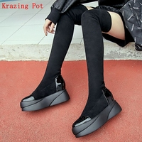 Krazing Pot 2018 new genuine leather flock lycra flat long boots platform round toe slip on lady stretch over the knee boots L08