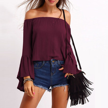 2017 Autumn Women Blouses Shirts Butterfly Sleeve Sexy Off Shoulder Slash Neck Rufflers Solid Tops Blusas Femininas