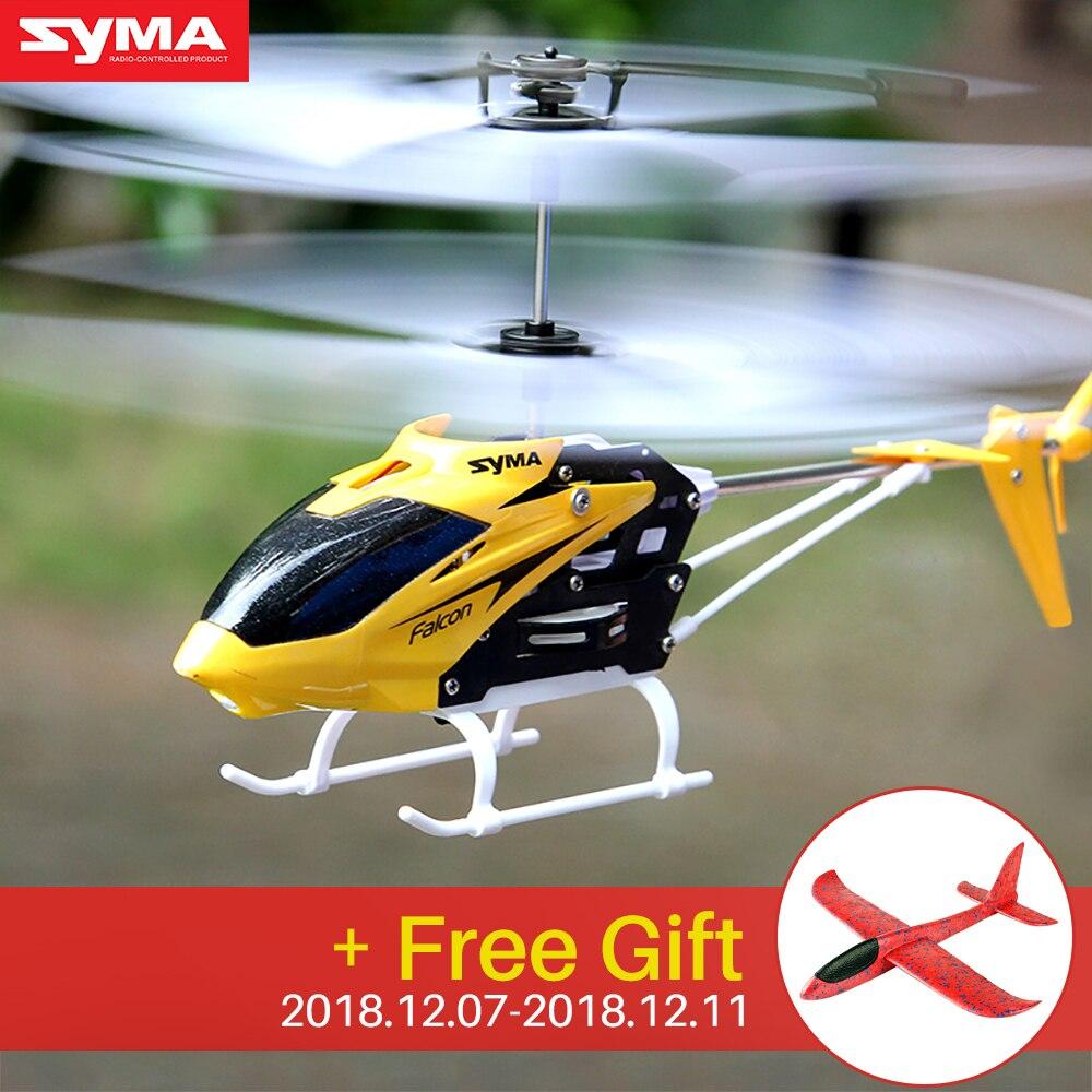 Syma Ufficiale W25 RC Elicottero 2 CH 2 Canali Mini RC Drone Con La Girobussola Resistente Agli Urti RC Giocattoli Per Il Ragazzo scherza il Regalo Rosso Giallo