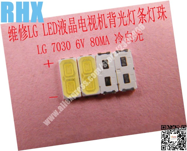 200piece/lot For repair LCD TV LED backlight Article lamp SMD LEDs LG 6V 7030 80MA Cold white light emitting diode