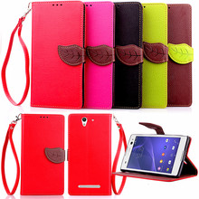 Elegant Leaf Design PU leather Wallet Case For Sony Xperia C3 case Wallet Card Holder stand Flip Mobile Phone Bags cover