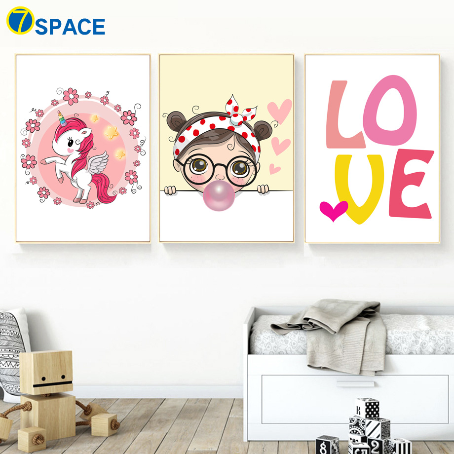 Us 3 26 45 Off Unicorn Ing Bubbles Love Nursery Wall Art Canvas Painting Nordic Posters And Prints Pictures Baby Room Decor In