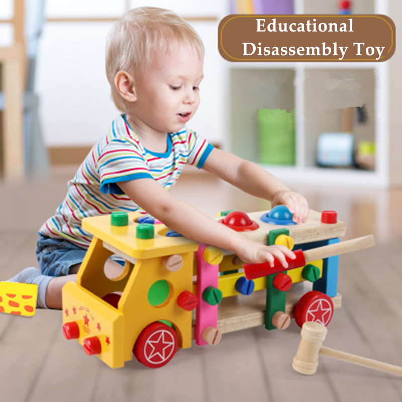 Toys For Kid Baby Educational Wooden Toy Disassembly Screw Nut Vehicle Car Knock Ball Developmental  New Born Toys
