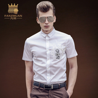 FANZHUAN Summer Men S Clothing Shirts Slim Fit Casual Shirts White Short Sleeve Embroidery Dress Shirts