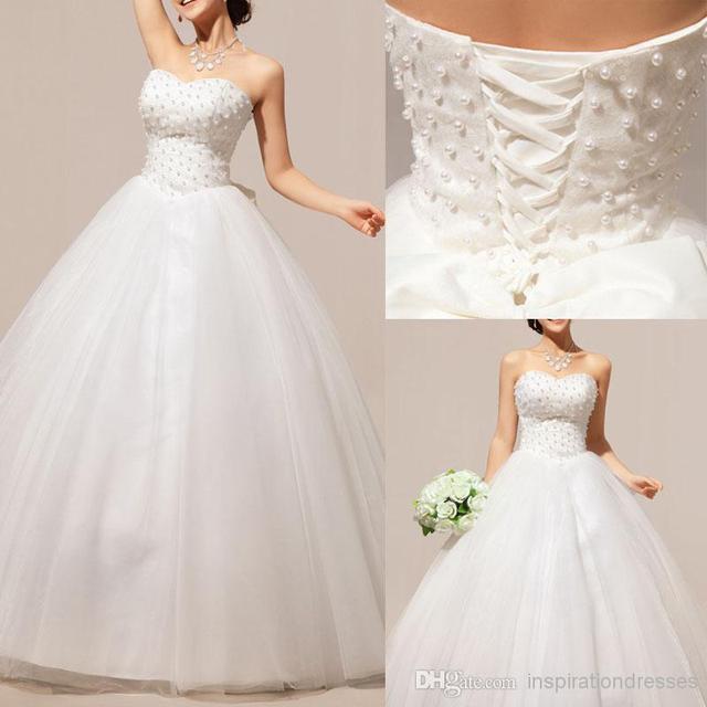 Wedding Gown Necklines: Cinderella Ball Gown Wedding Dresses 2016 Pearls