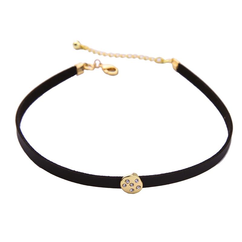 Ogrlice iz črnih žametnih čevljev za ženske Tri plasti kovinske - Modni nakit - Fotografija 5