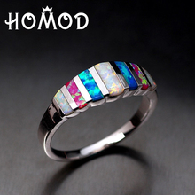 HOMOD HOT SELL Created Pink Blue White Fire Opal Silver Plated for Women Jewelry Ring Size 5-13 Wholesale Christmas Mystery Gift