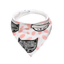 Cute Bandana Shaped Patterned Waterproof Cotton Bib