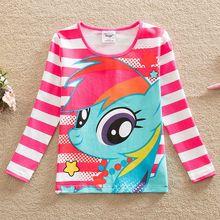 Free shipping new girls long-sleeved cotton T-shirt pony bao li cartoon printed stripes round collar tutu fashion T-shirt PD1120