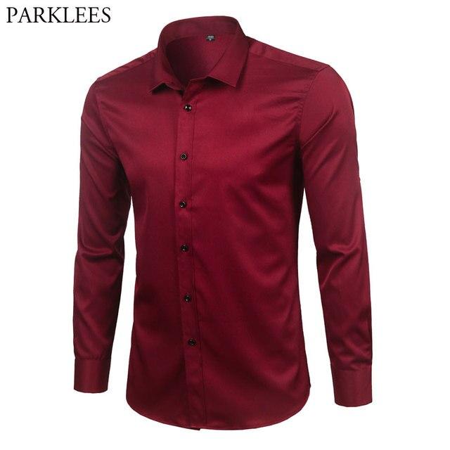 العلامة التجارية النبيذ الأحمر الخيزران الألياف الرجال فستان قمصان سليم تيشيرت ضيق بأكمام طويلة شيميز أوم زر عادية أسفل مطاطا قميص رسمي الذكور