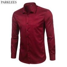 Marka wino czerwone z włókna bambusowego męskie ubranie koszule Slim Fit z długim rękawem koszulka Homme dorywczo w całości zapinana na guziki elastyczna formalna koszula męska