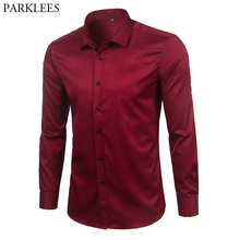 Merk Wijn Rode Bamboevezel Heren Overhemden Slim Fit Lange Mouwen Chemise Homme Casual Button Down Elastische Formele Mannelijke shirt