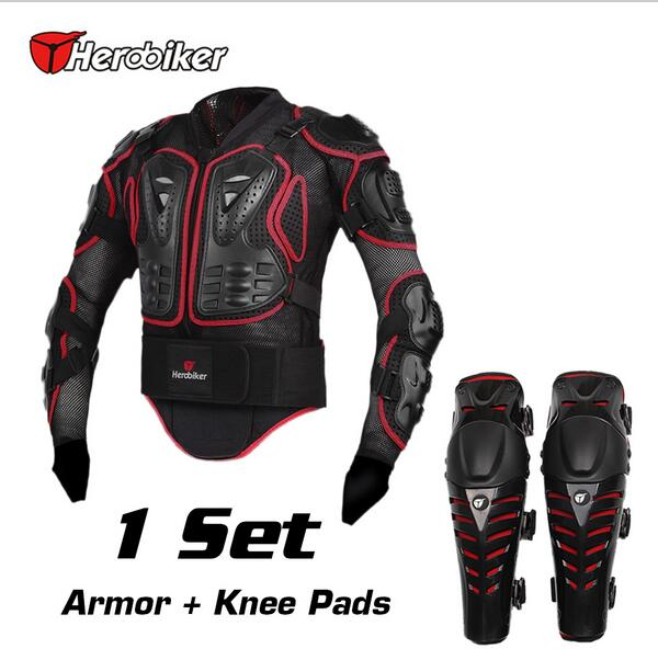 HEROBIKER Motorcycle Riding Armor Jacket + Knee Pads Motocross Off-Road Enduro ATV Racing Body Protective Gear Protectors Set herobiker motorcycle riding armor jacket knee pads motocross off road enduro atv racing body protective gear protectors set