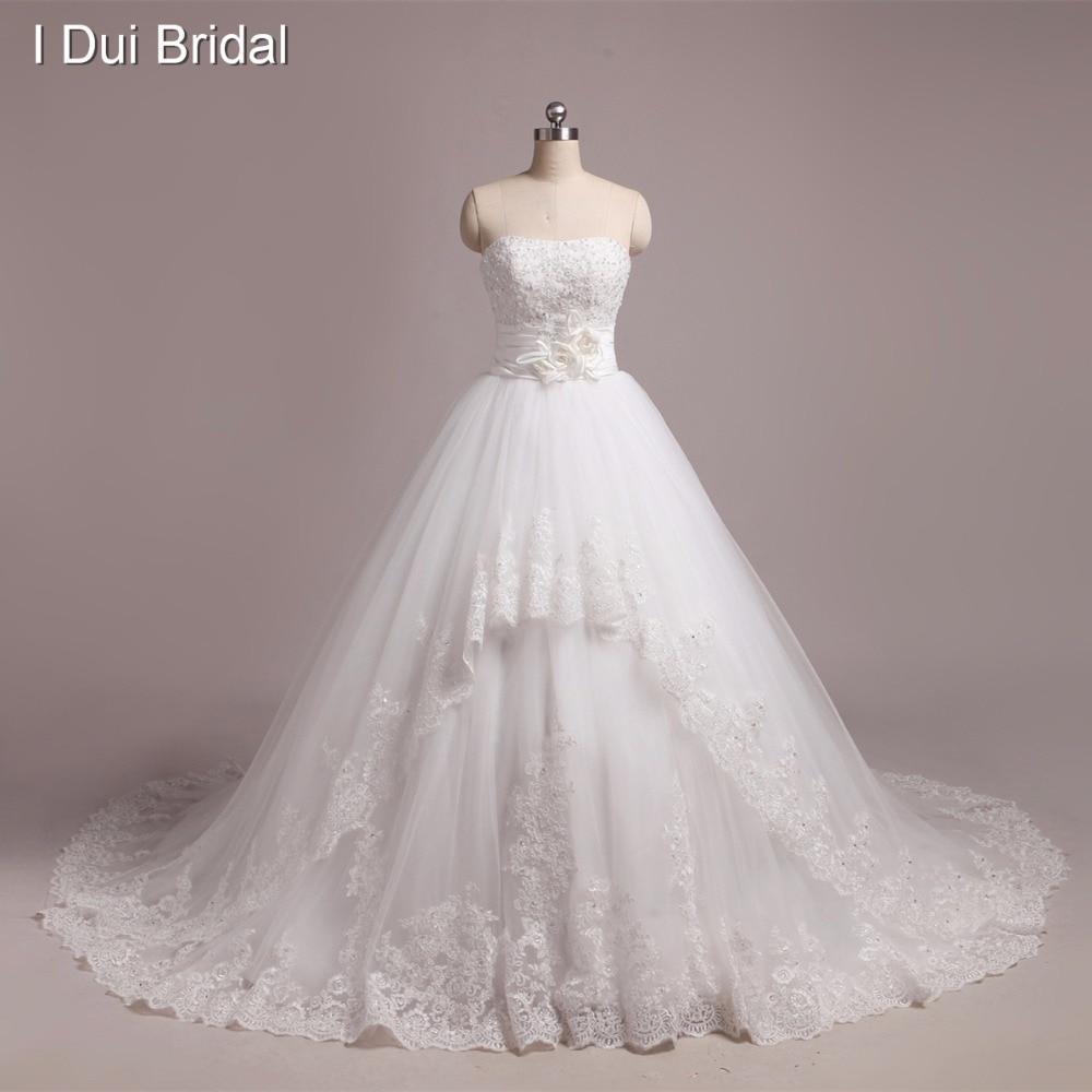 Photo réelle robes de mariée faites sur commande de haute qualité robe de bal dentelle appliquée perlée chapelle Train robe de mariée