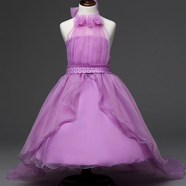 Flower Baby Girl Dress Purple prom gown Dresses For Girls Kids Clothes  Formal Teenage Girl Christening a7231831d62a
