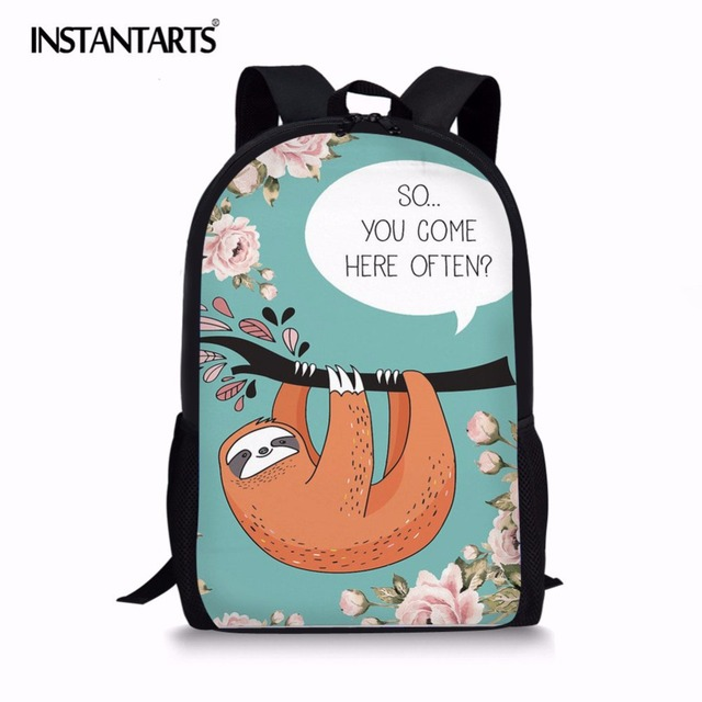 5e6bcdf9ad14 INSTANTARTS Cute Sloth Talk Printed Girls Backpack Fashion Travel Daypack School  Bags for Teenagers Lightweight Bookbag
