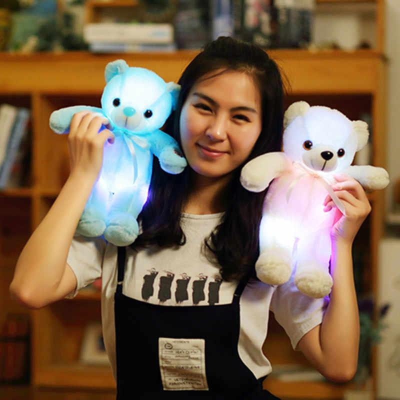 1 adet 32cm doldurulmuş hayvan ışık peluş oyuncaklar peluş ayı oyuncak ayı bebek uyku oyuncak doğum günü hediyesi için çocuk