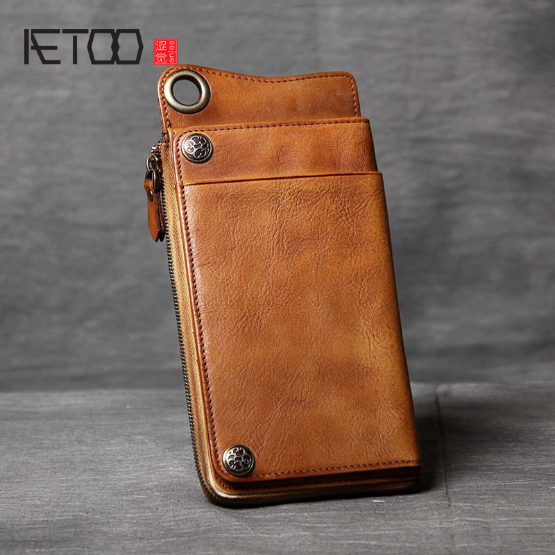 AETOO Multifunctional head cowhide Long Wallet card Package One pack handmade male and female retro leather