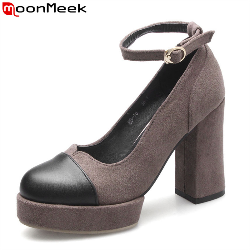 MoonMeek 2017 hot sale new arrive women spring autumn kid suede high heels shoes fashion buckle round toe shallow ladies pumps