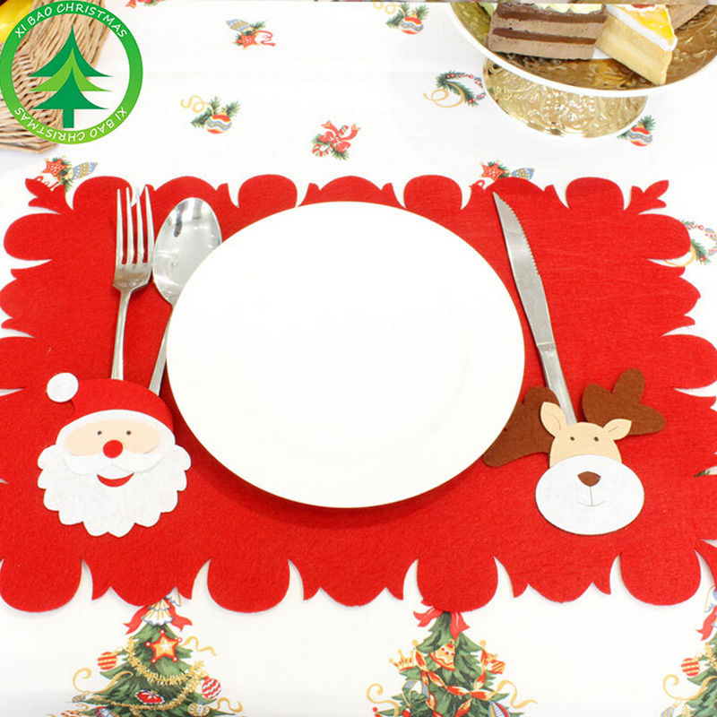 Christmas Dinner Table Mats Pads Santa Claus Xmas ...