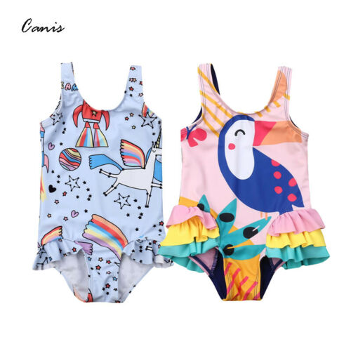 2019 Summer Swimwear Cute Newborn Kids Baby Girls Unicorn Bird Print Cartoon Bikini Swimwear Swimsuit Bathing Suit Beach Cute