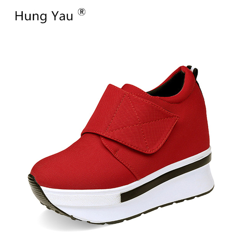 Hung Yau Women Casual Daily Shoes Sneaker Black Woman High Platform 2017 New Woman Creepers Internal increase Ankle Boots Size 8 in Ankle Boots from Shoes