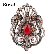 Kinel New Royal Fiore Spille Per Le Donne Acessorios Monili Turco Antique Gold Cristallo Giorno Le Donne Hollow Crown Gioielli(China)