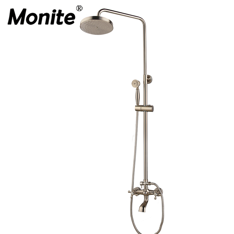 Monite Nickel Brushed Adjustable Rain Shower Bar Wall Mounted Shower Faucet Cold and Hot Water Mixer Shower sets