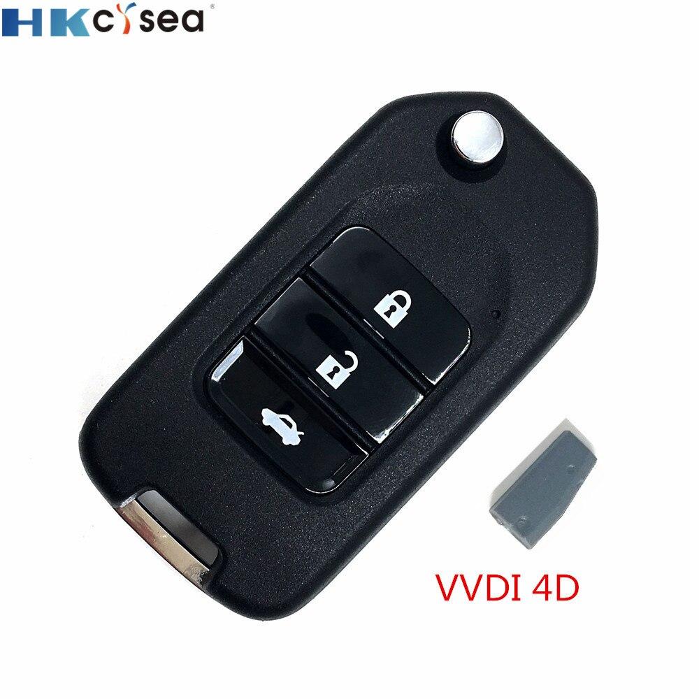 HKCYSEA 1 шт. 3 кнопки Xhorse Автомобильный ключ Удаленная Замена Английская версия для VVDI ключ инструмент с 1 шт. VVDI 4D чип
