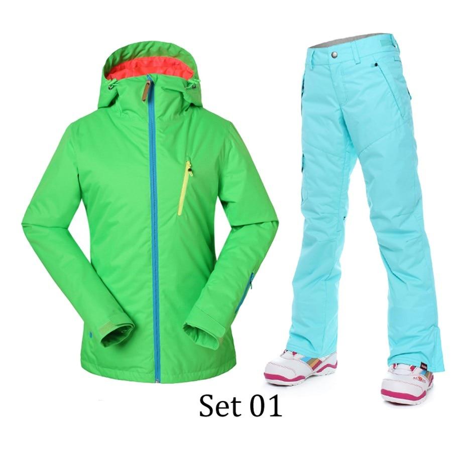 GSOU SNOW Women Ski Suit Jacket+ski Pant Warm Sets Thermal Snowboarding Snowsuit Thicken Coat+Trousers Winter Outdoor Outerwear brand gsou snow technology fabrics women ski suit snowboarding ski jacket women skiing jacket suit jaquetas feminina girls ski