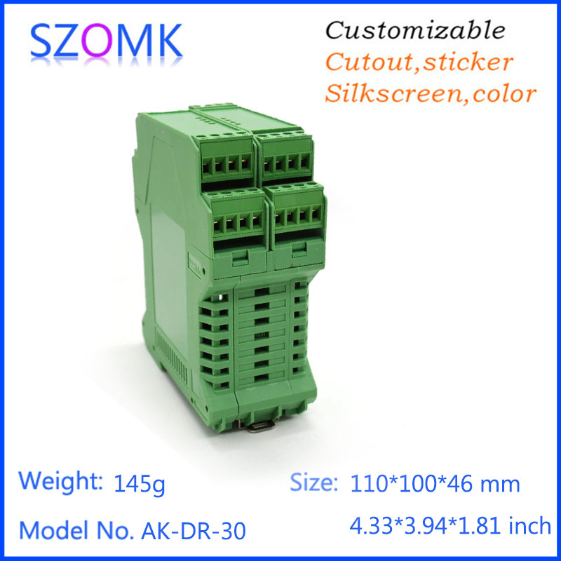 10 psc case electronic 110*100*46mm abs instrument enclosure grenn color din rail box hight quality housing electronics SOMK electronic din rail box 1 psc free shipping din rail box case plastic enclosures abs junction housing electronics housing
