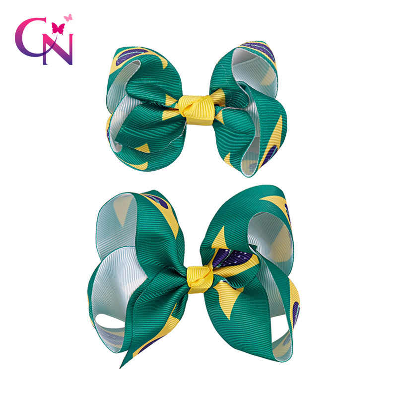 """2Pieces/Lot 3""""4"""" Brazil Flag Hair Bow With Clip For Girls Brazilian National Day Knot Bow Handmade Hairclips Hair Accessories"""