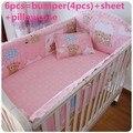 6 шт.  постельные принадлежности для маленьких девочек  комплекты постельного белья  детская кроватка  бампер  простыня  ropa de cuna (4 бампера + ли...