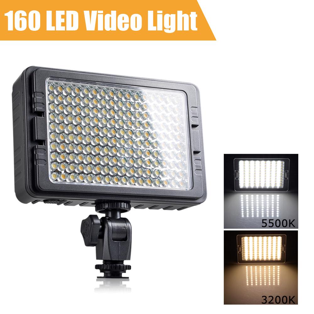 Prix pour Tolifo 160 LED Led Lumière de Caméra Vidéo Bi-couleur Température Réglable 3200 K 5500 K Photographie DSLR Photo Lumière pour Canon Nikon