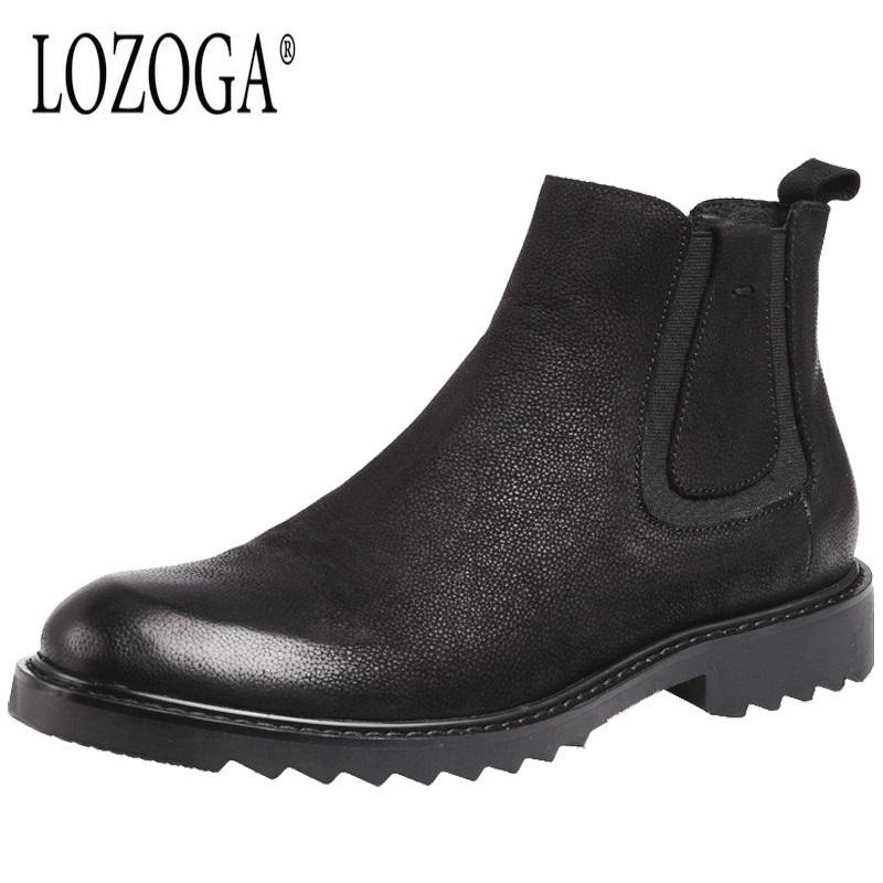 LOZOGA Autumn Winter Male Boots Chelsea Boots Genuine Leather Men Shoes Retro Round Toe Fashion High Shoes Black British Style цены онлайн