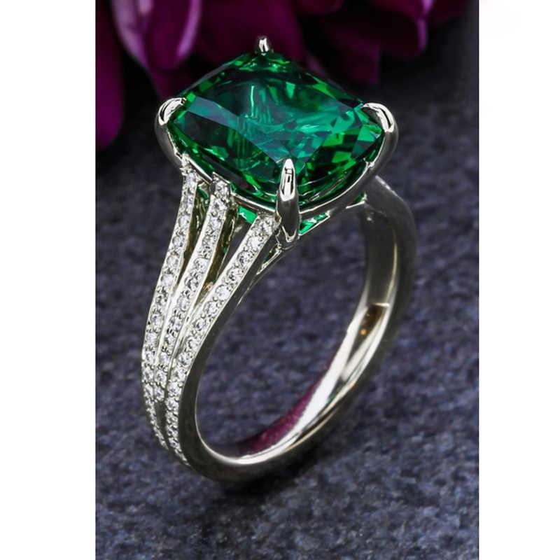 ZAKOL, классическое кольцо с цирконием и кристаллами, большой зеленый квадрат, CZ камень, мощеное женское ювелирное изделие для невесты, свадебное вечернее платье FSRP2014